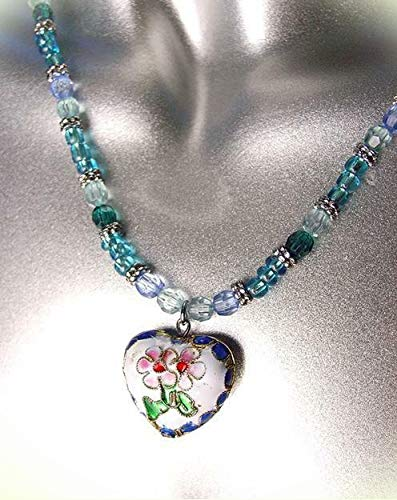Decorative White Blue Multi Cloisonne Enamel Floral Heart Pendant Necklace For Women