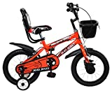 MAD MAXX Steel Kids BMX 14T Road Cycle, 14 inches (Neon Red) For 3 to 5 Years child