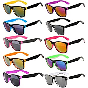 New Stylish Retro Vintage Two -Tone Sunglasses Multicolor Mirror Lens (10_Pack - Smoke_Lens_Mirror_Lens, Mirror) OWL.