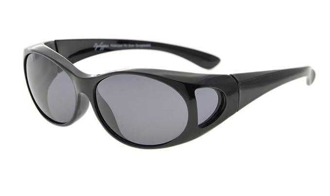 92a9870d4a Eyekepper Gafas de sol polarizadas estilo retro fitover para anteojos  recetados (Negro/Gris Lentes