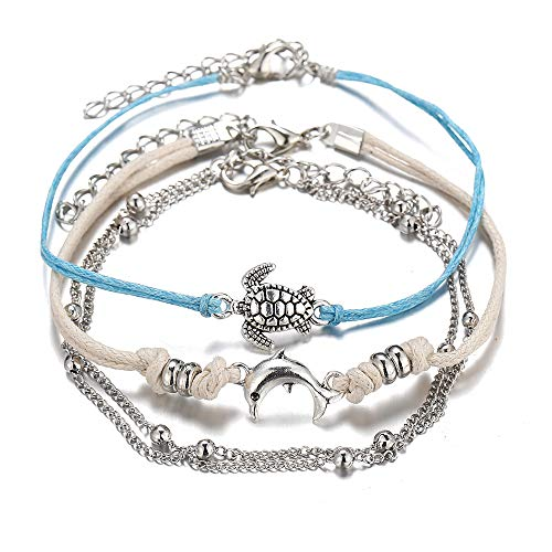 3pcs/Set Handmade Multilayers Turtle Dolphin Charm Rope Braided Anklets for Women Teengirls Bohemian Adjustable Ankle Bracelets with Extension Summer Foot Jewelry (White Blue)