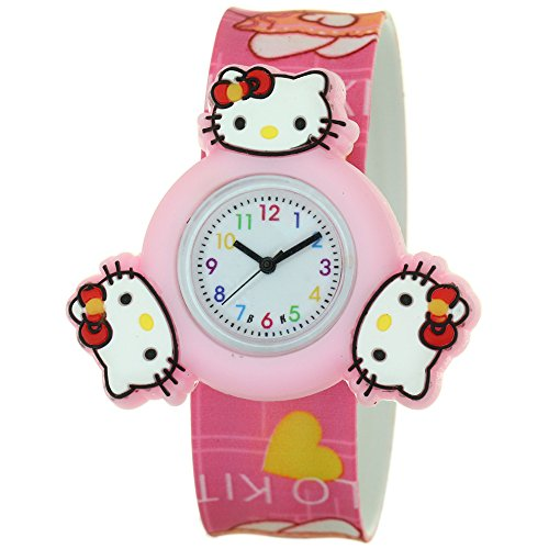 Hello Kitty Cartoon Character Silicone Strap Round Quartz Kid 3D Spinner Rotating Case Waterproof Slap On Rubber Band Arabic Numerial Dial Children Toddler Wristwatches Time Teacher Boy Girl Watches
