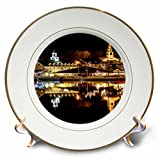 3dRose TDSwhite – Miscellaneous Photography - Waterfront Lights Lake Reflection - 8 inch Porcelain Plate (cp_285446_1)