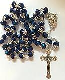 Blue Iris Crystal Beads Rosary Catholic Necklace Holy Soil Medal & Crucifix