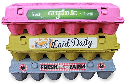 18 Egg Cartons, Blank Containers With Bonus Egg Carton Labels, Holds A Dozen Eggs (Carton Custom)