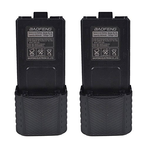 Replacement Li Ion Extended Battery - Replacement Battery BL-5 Two-way Radio Li-ion Batteries Compatible with Baofeng UV-5R F8HP 5RTP and 5r Series Capacity 3800mAh (2 Packs) by LUITON