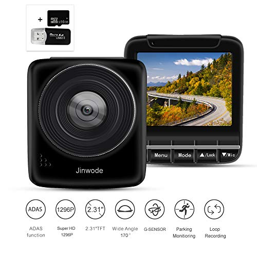 Car Camera Mini Dash Cam FHD 1296P Driving Recorder with 170° Wide Angle Lens G-Sensor Loop Recording Included 16GB SD Card Parking Monitoring Night Vision Camera