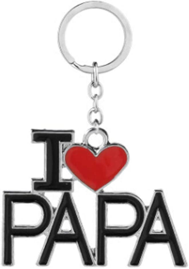 Best Dad Ever Red Black Plaid Heart Love Metal Keychain Key Chain Ring