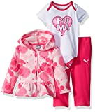 PUMA Baby Girls Three Piece Micro Fleece Set, Pink Glow, 3-6 Months