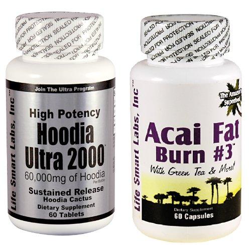Combo ACAI Fat Burn n ° 3 et Hoodia Ultra Diet Pill 2000 avec le thé vert, de pamplemousse, de cidre de pomme, et plus encore pour la perte de poids et de 2000mg de Hoodia