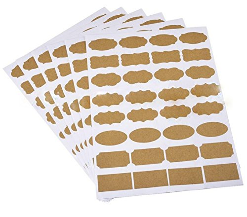 6 Sheets(192PCS)Assorted Shaped Multipurpose Self Adhesive Handwriting Essential Oil Bottle Marker Labels Fancy Kraft Paper Stickers Classify Category Labels for Blackboard Cosmetic Home Kitchen Using ()