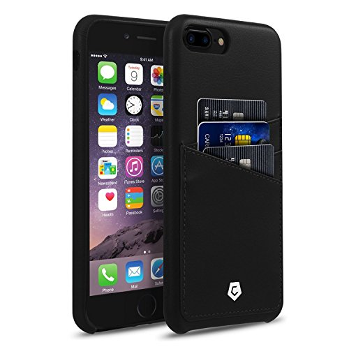 Cobble Pro Premium Leather Case, [Handcrafted] PU Leather Back Phone Case Cover with ID Credit Card Slot Holder Compatible with Apple iPhone 8 Plus / 7 Plus (5.5), Black