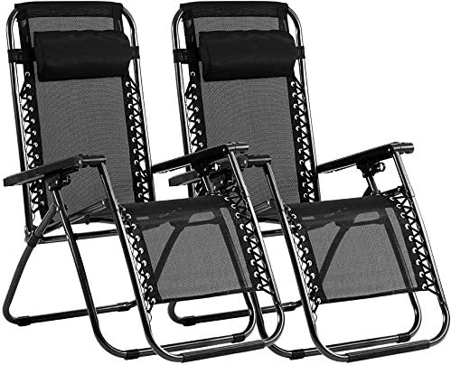 Zero Gravity Chair Lounge Chair Patio Chairs Set of 2 Adjustable Lounge Recliner