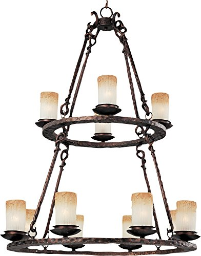 Maxim 10977WSOI Notre Dame 12-Light Chandelier, Oil Rubbed Bronze Finish, Wilshire Glass, CA Incandescent Incandescent Bulb , 8W Max., Wet Safety Rating, 3000K Color Temp, ELV Dimmable, Glass Shade Material, 560 Rated Lumens