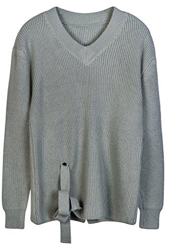 vogueearth Damen's Lang Hülse V-Hals Knit Basic Sweater Sweatshirt Pullover Grau-grün T3VBI