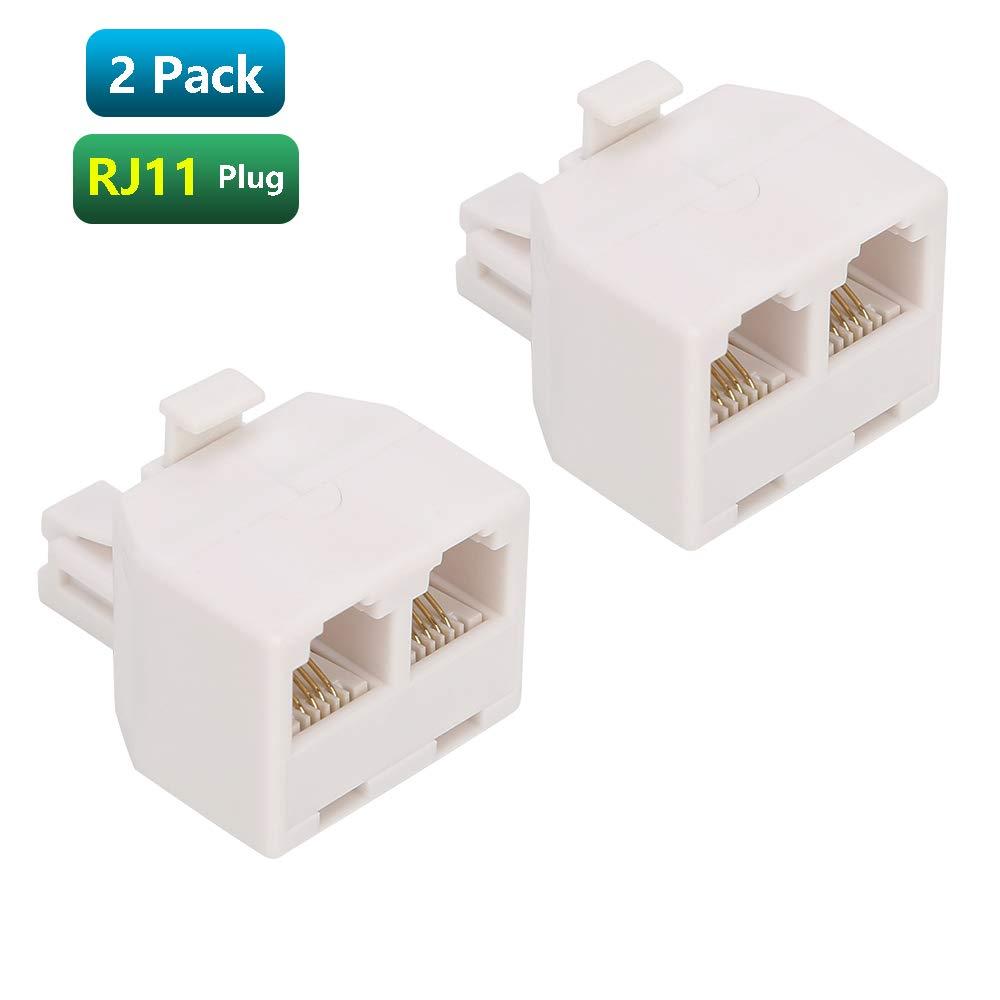 Urmust RJ11 Plug 1 to 2 Dual Phone Line Splitter Wall Jack Split into Two Modular Converter Adapter
