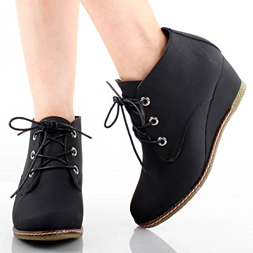 Ankle Qupid Pu 01 Willow Lace 5 Women's 6 Faux Of Room Suede Fashion Up Wedge Black Booties Eqw8n7