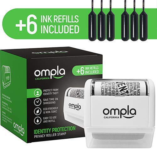 Ompla Identity Theft Data Protection Roller Stamp - Includes 6 Ink Refills                  by Ompla