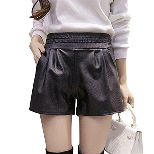 Ivan Johns 2018 Women Elastic Waist PU Leather Black Shorts Female Celebrity Same Loose Fashion Women Casual Shorts Plus -
