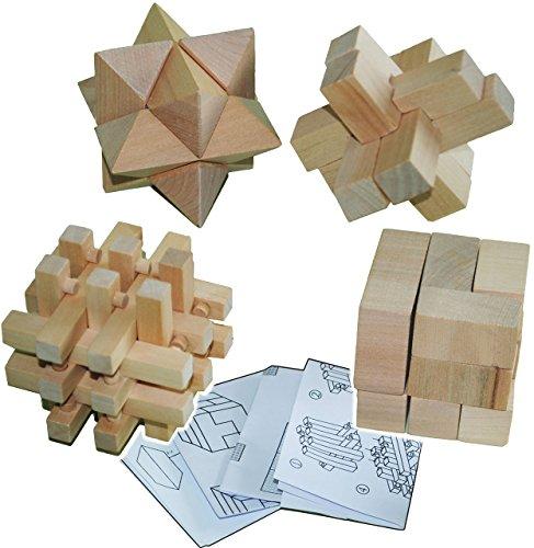 4 tlg. Set _ Knobelspiel & Logikspiel - 4 verschiedene Geduldsspiele - aus Holz - Knobelwürfel - Gedächtnisspiel / Geschicklichkeitsspiel - Denkspiel - Geduldspiel - Würfel - Holzknobelspiel - Zauberwürfel - Holzknobelspiel / Denkspiele - für Kinder & Erwachsene