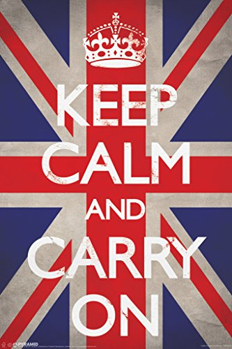 Keep Calm and Carry On Union Jack Flag WWII Wartime Great Britain Motivational Poster
