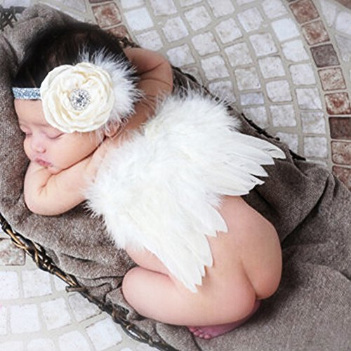 [Newborn Baby Photography Props Angel Wings and Hair Band Cute Photo Accessory] (Newborn Angel Wings)