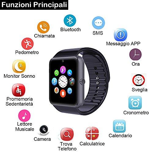 Willful - Reloj inteligente, smartwatch para Android y iOS con Bluetooth, reloj de seguimiento de fitness con ranura para SIM y cámara, reloj ...