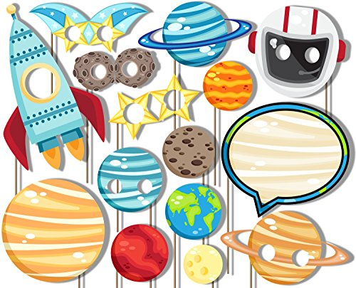 Outer Space Solar System Photo Booth Props Kit - Party Camera Props Fully Assembled by Birthday Galore ()