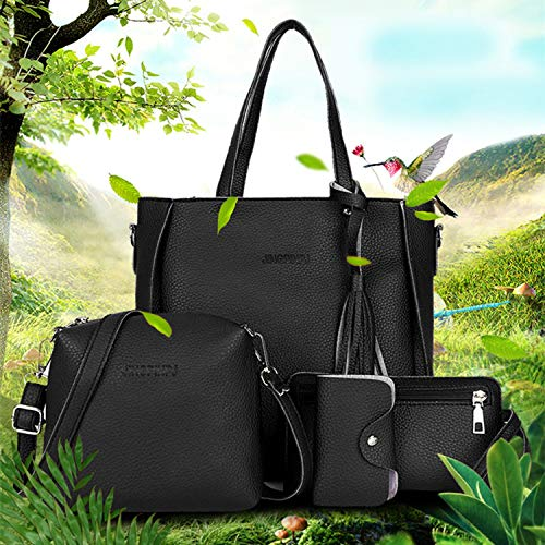 À Guoxuee Composit Pièces Glands Mode lot Bandoulière Bag noir Sac Main 4 8xfTq8a4