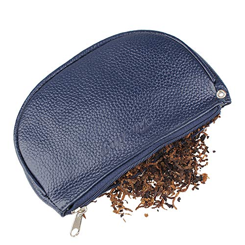2nd Generation Leather Cigarette Smoking Pipe Tobacco Pouch Case Bag with Rubber Lining to Preserve Freshness(No Gap at end) Middle Size (3.75