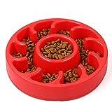 Foir Anti Choking Fun Feeder Slow Feed Interactive Bloat Stop Dog Bowl pet Slow feeder dog Bowls (Red)