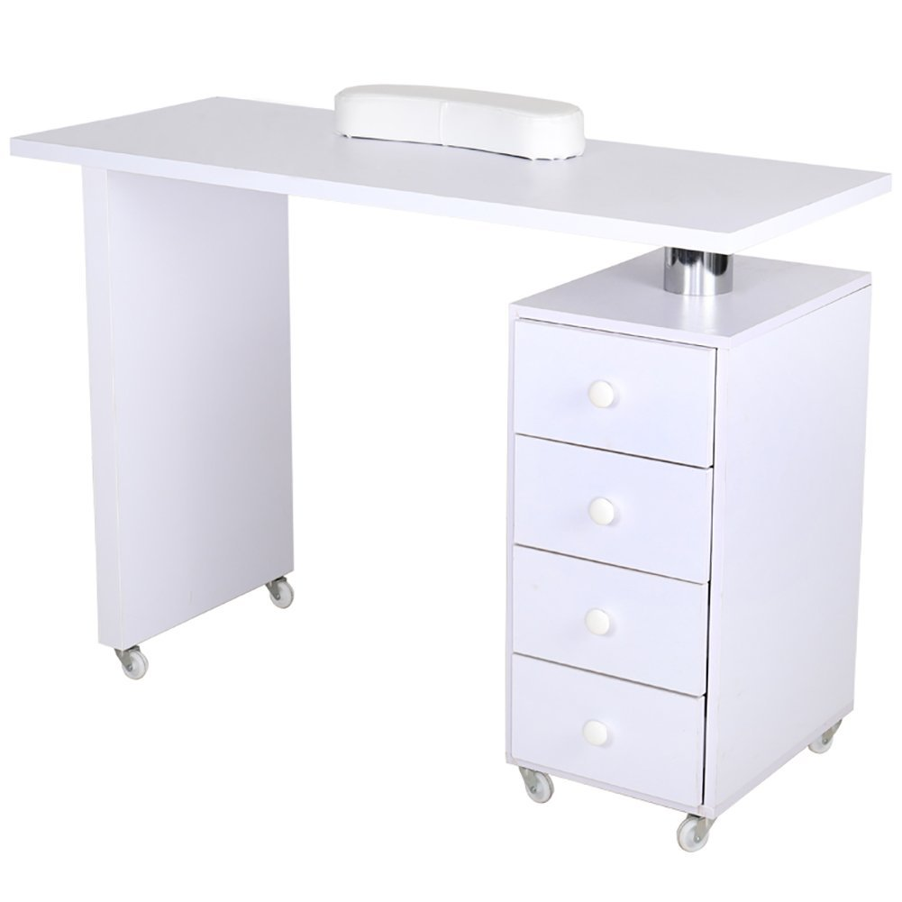 Professional Nail Station Large Salon Manicure Table with Storage Drawer Nail Varnish Desk w/Extra Armrest White, WarmieHomy