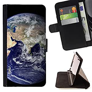 BullDog Case - FOR/Sony Xperia Z2 D6502 / - / blue planet earth home view space distant /- Monedero de cuero de la PU Llevar cubierta de la caja con el ID Credit Card Slots Flip funda de cuer