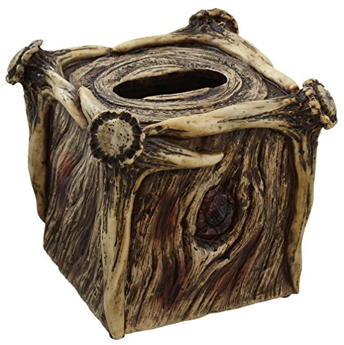 Rustic Deer Antler / Tree Bark Square Tissue Box Cover Holder