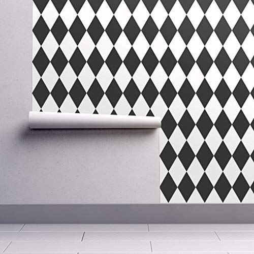 Peel-and-Stick Removable Wallpaper - Diamond Modern Modern Nursery Monochromatic Diamond Harlequin Geo by Sunny Afternoon - 12in x 24in Woven Textured Peel-and-Stick Removable Wallpaper Test Swatch