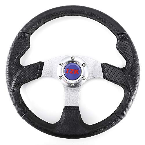 (JZK New Classic Universal Steering Wheel 350mm 6 Bolts PVC Material Grip and Brushed Stainless Spokes)