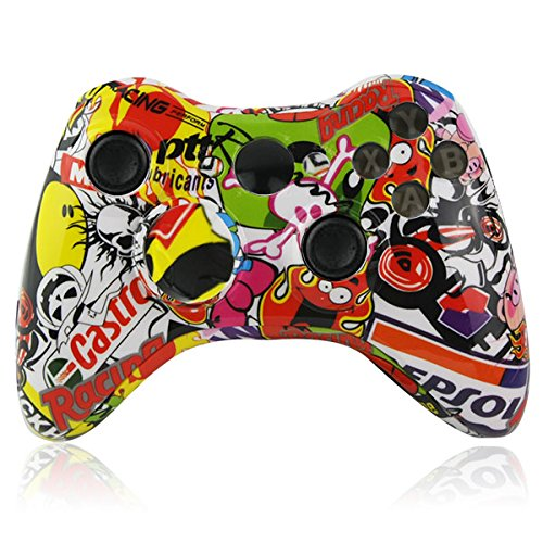 For Xbox 360 Wireless Controller Full Housing Hydro Dipped Sticker Bomb Skull Controller Shell Case Button Kit Replace Parts