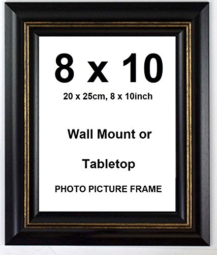 Deluxe Wood Antique Rustic Photo Picture Frame - Black - 8x10