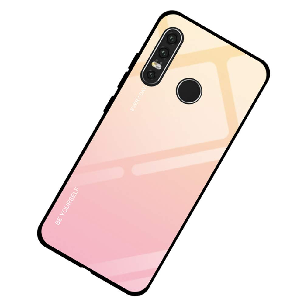 AIsoar Compatible with Huawei P30 Lite/Nova4E Colored Gradient Tempered Glass Case,Tempered Glass Back Cover + Soft TPU Bumper Frame Shockproof Anti-Scratch Protective Cover (Pink + Yellow) by AIsoar