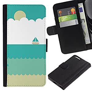 Sand Velero Verano Beach Sun- la tarjeta de Crédito Slots PU Funda de cuero Monedero caso cubierta de piel Para Apple (5.5 inches!!!) iPhone 6+ Plus / 6S+ Plus