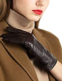 Super-soft Leather Winter Gloves for Women Full-Hand...
