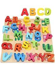 Jacootoys Alfabeto de Madera Puzzle ABC Chunky Puzzle Board Aprendizaje temprano Juguetes educativos Regalo para niños