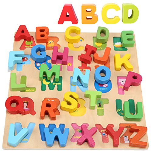Wondertoys Wooden Alphabet Puzzle Board for 1 2 3 Years Old Girls Boys ABC Chunky Puzzles Educational Toys ()