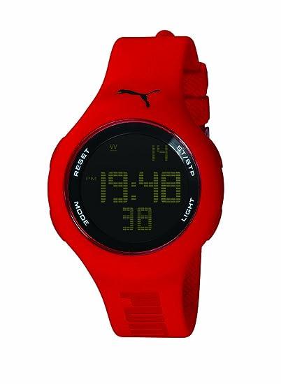 Puma Loop Red - Reloj digital de mujer de cuarzo con correa de plástico roja (cronómetro) - sumergible a 30 metros: Amazon.es: Relojes