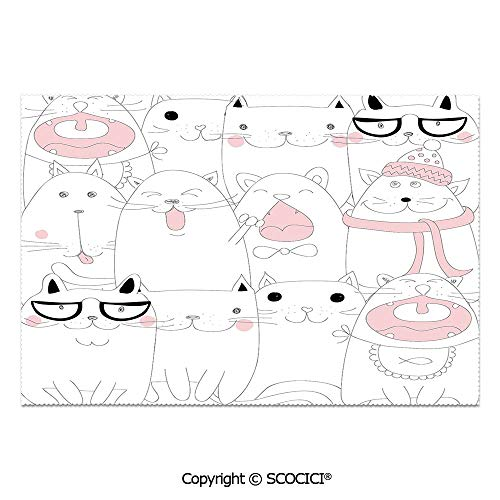 Set of 6 Heat Resistant Non-Slip Table Mats Placemats Many Faced Bunch of Happy Sad Sleepy Sassy Cat Caricature Kids Nursery Theme for Dining Kitchen Table Decor