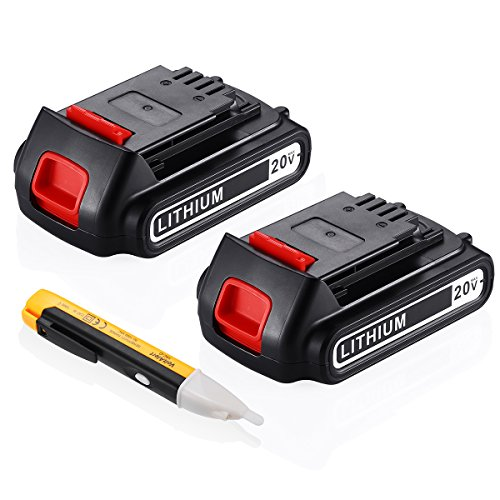 (Upgraded) Powerextra 2 Pack 20v 2500mah Lithium-Ion Replacement Battery for Black&Decker LBXR20 LB20, LBX20 Cordless Tool Battery Black and Decker Lithium 20V by Powerextra