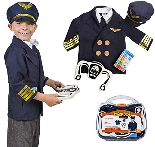 Tigerdoe Pilot Costume for Kids - Pilot Costumes - Kids Dress Up , W/ Storage Case - Pretend Play - Role Play -