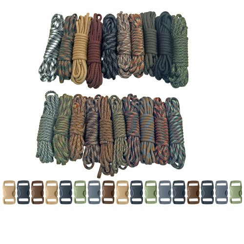 PARACORD PLANET Survival & Emergency Paracord Bracelet Kits (Cobra Braid Instructions Included) Unique Kits Ranging from 30 to 200 Feet in Total Length of Cord