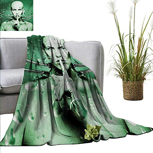 AndyTours Travel Blanket,Futuristic,Robot Girl with Cables in a Glass Underwater Design Print,Hunter Green and Pistachio Green,Cozy Hypoallergenic, Easy to Carry Blanket 60