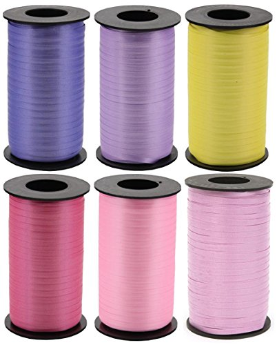 Floral 6-Pack Bundle of Berwick Splendorette Crimped Curling Ribbon - Periwinkle, Lavender, Daffodil, Dubonnet Rose, Azalea & Orchid - 500 yards each